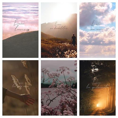 6 thèmes (amour, déambulations, rêves, cinq sens, beauté, synchronicités)