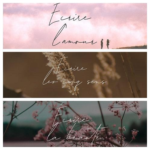 3 thèmes (Amour, Cinq sens, Beauté)