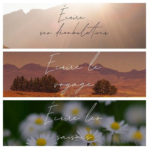 3 thèmes (Déambulations, Voyage,Saisons)