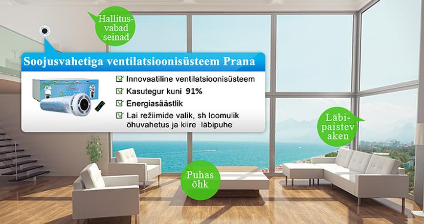Pranavent, innovaatiline ventilatsiooniseade, ventilatsioonisüsteem, ventilatsioon