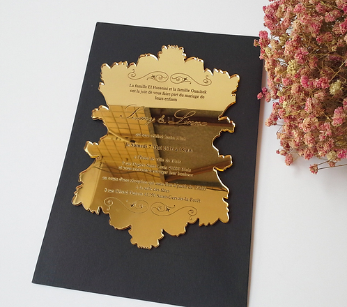 Leaf shape acrylic invitation card