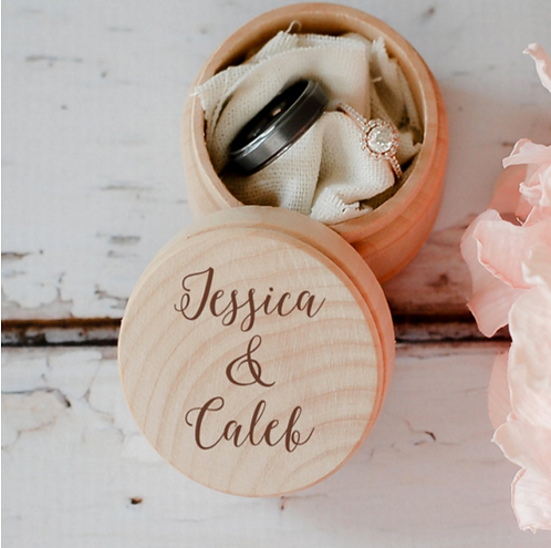 Rustic Mini Engraved Wooden Ring Box