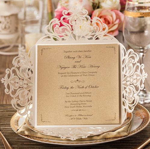 Laser cut elegant invitation cards series