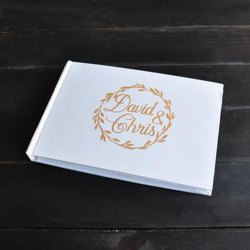 Rustic Guestbook Custom Names Alternative Wedding Guest Book gold
