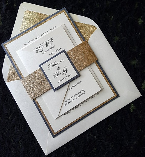 Glittering Gold or Silver Wedding Invitations Cards