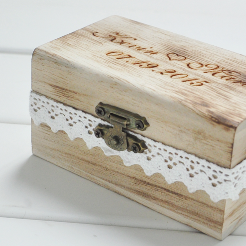 Rustic Engraved Wooden Ring Box