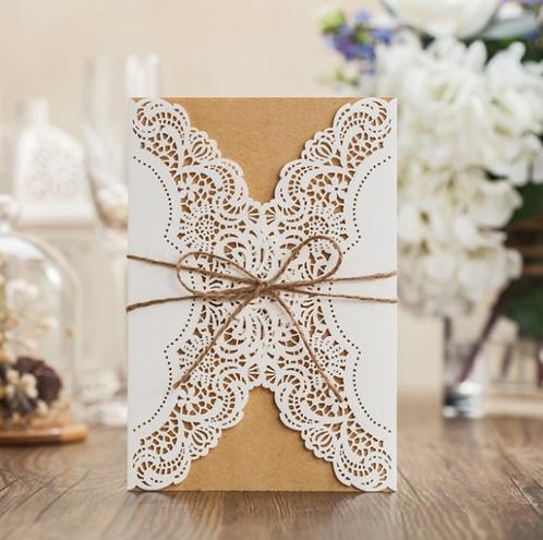 Brown paper Laser cut elegant invitation card