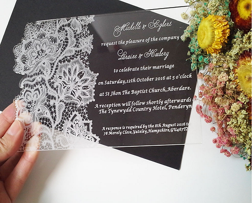 Clear lace pattern acrylic invitation card