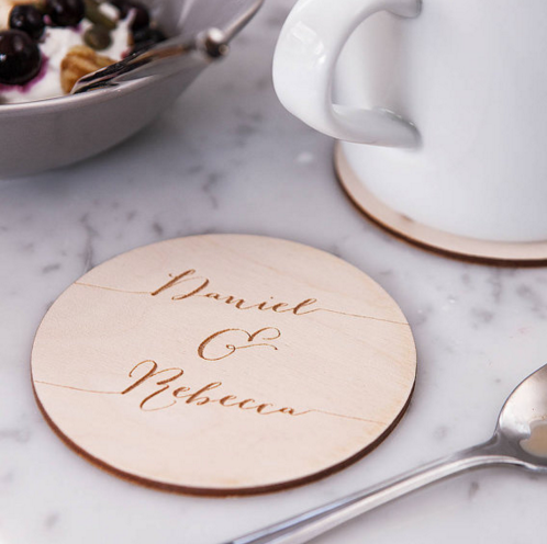 Calligraphy custom Coaster - Wood engraved Coasters