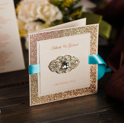 Glittering Gold Wedding Invitations Cards with Silver buckle