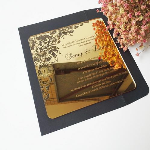 Golden mirror acrylic invitation card