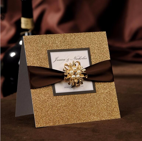 Glittering Gold Wedding Invitations Cards with rhinestone gold buckle