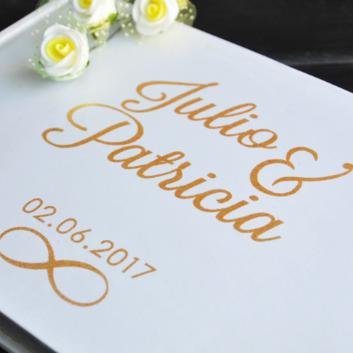 Personalized Guest Book Gold Calligraphy Alternative Guestbook Custom Names and