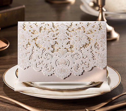 Laser cut elegant invitation cards series