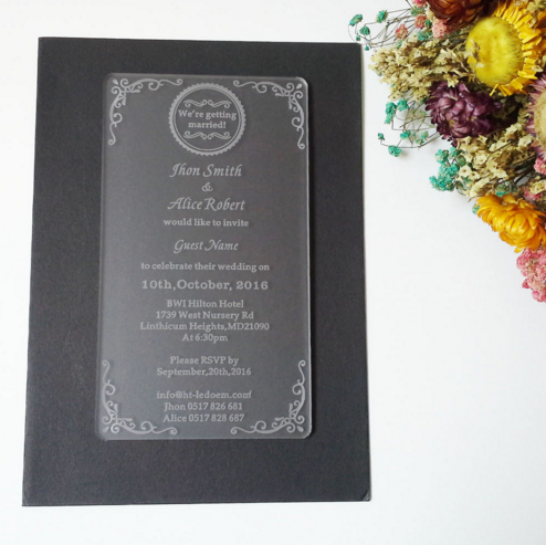 Frosted acrylic invitation card