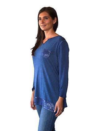 Blusa Azul con Lentejuelas y Gasa en la espalda