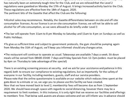 RSC News Letter - 015 - Level 2 Covid-19 Announcement