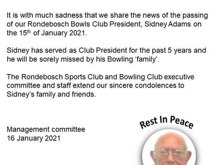RBC Bowls President Passing - Rest in Peace Sidney