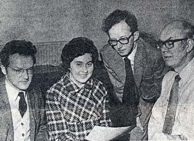 From right Rolfe Tomlinson, Glyn Martin, secretary Joan Harrison and Brian Marks