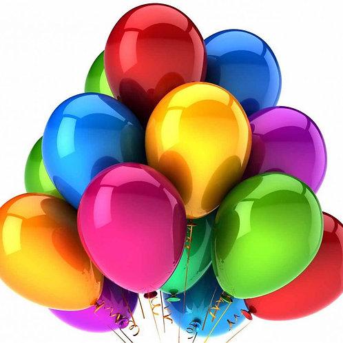 """Сто разноцветных воздушных шаров 12-14"""" с гелием"""