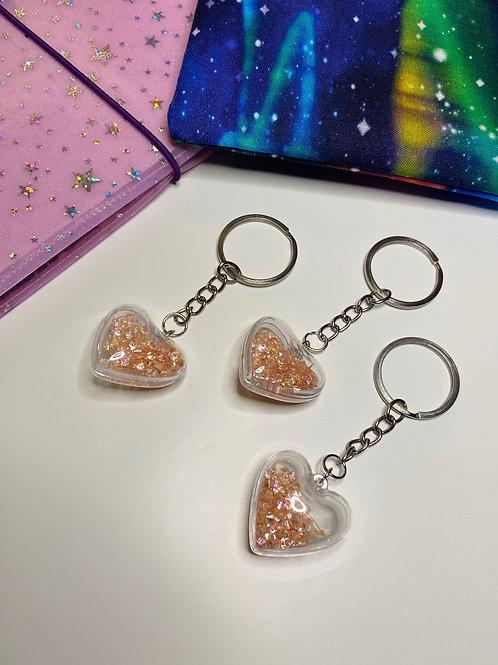 Crystal Blush Heart Keychain