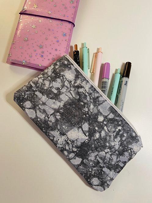 Glitter Grey Marble Zipper Pencil Pouch
