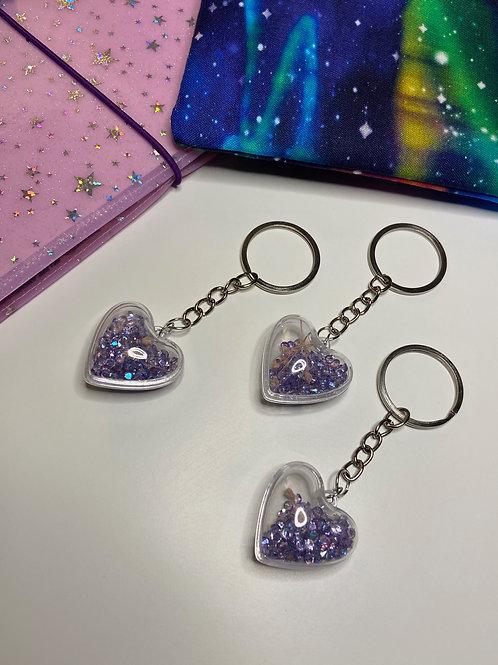 Crystal Purple Heart Keychain