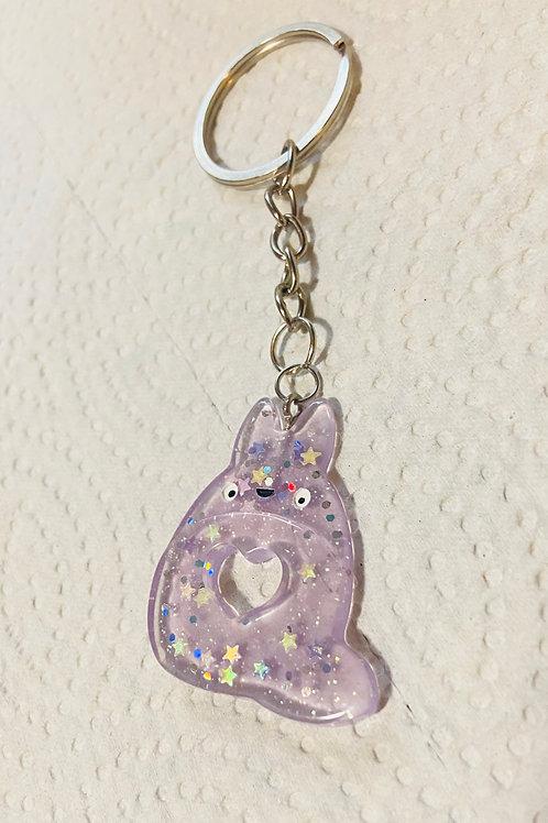 Purple Totoro Keychain