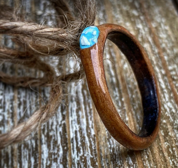 Wood Ring with color of your choice and cremains