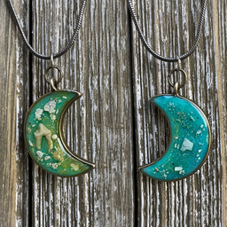 Moon Necklace with Cremains