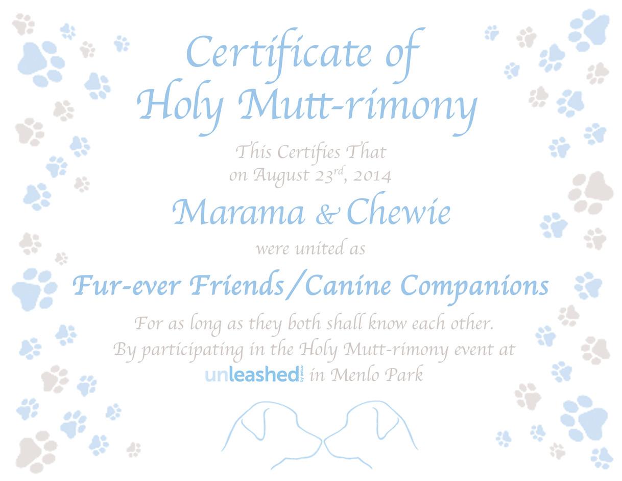 Mutt-rimony Certificate