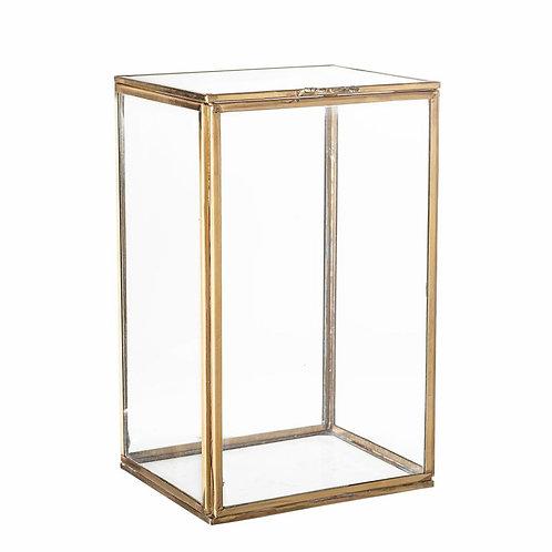 Caixa de Vidro com detalhe a dourado