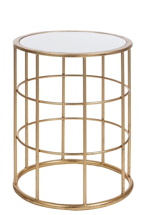 Mesa em Vidro Redonda e Dourada