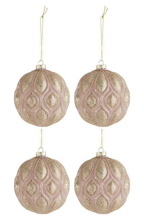 Conjunto de 4 Bolas de Natal - Glitter Pink/Gold
