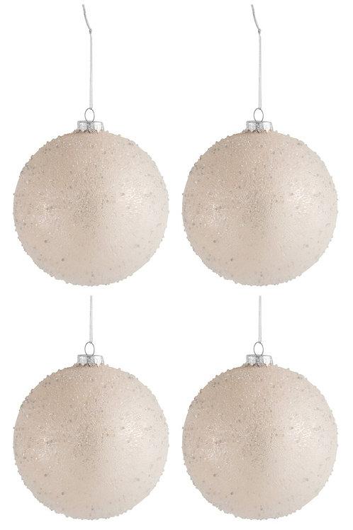 Conjunto de 4 Bolas de Natal -  Pérola