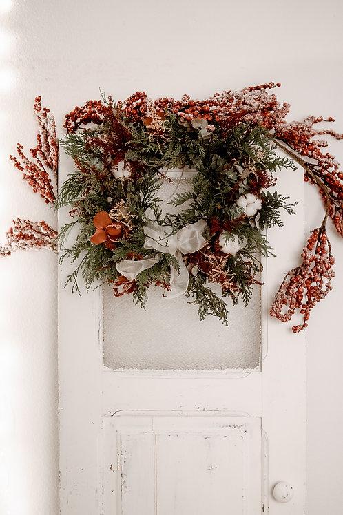 Coroa de Natal com flores naturais