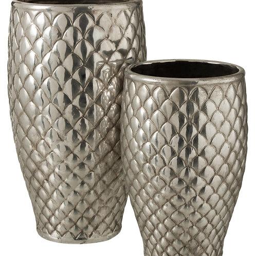 Vaso Xadrez de Metal Prateado