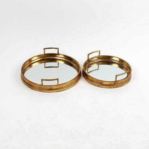 Conjunto de 2 Bandejas com Espelho em Ouro Antigo