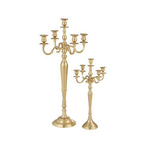 Candelabro Mate Dourado 5 velas