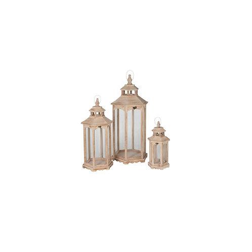 Conjunto de 3 Lanternas de Madeira