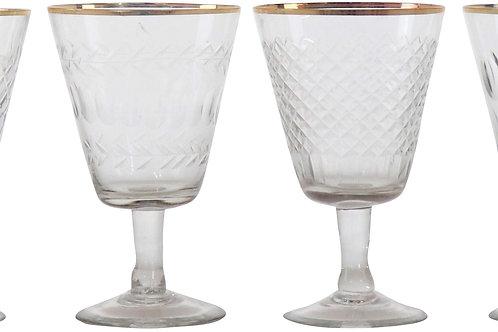 Conjunto de 6 copos em vidro e latão