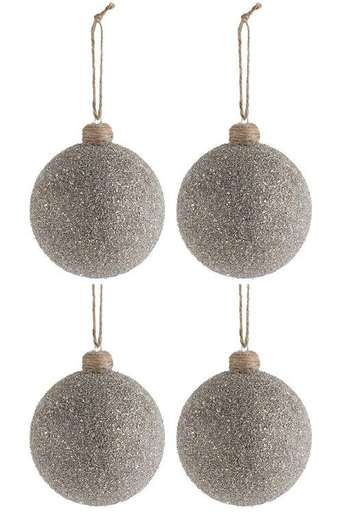 Conjunto de 4 Bolas de Natal - Frosted Glass Brown