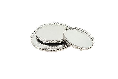 Conjunto de 3 Bandejas em Prata com Espelho