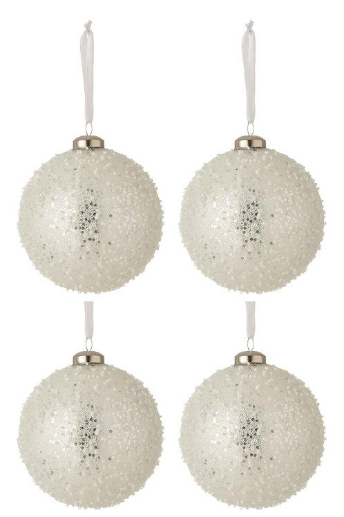 Conjunto de 4 bolas de Natal - branco e prateado