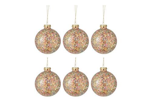 Conjunto de 6 bolas de Natal - confettis