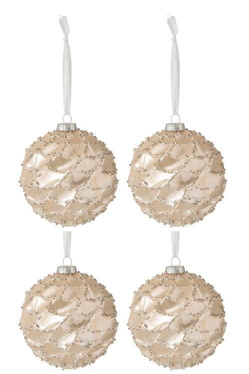 Conjunto de 4 bolas de Natal - dourado com brilhos