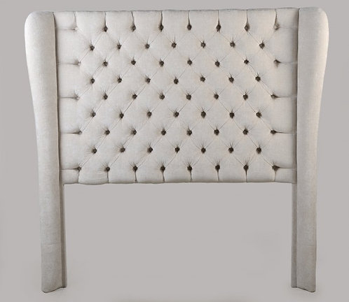 Traditional Straight Top Deep Button Wingback  Headboard on Legs