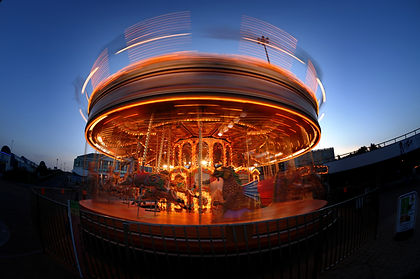 Carousel in motion at night