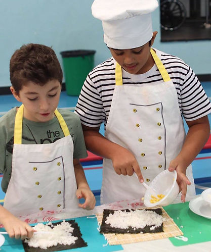 Kids loving their chef programme as they learn how to make vedgetarian sushi