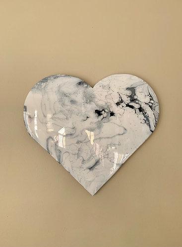 """""""White Marble"""" Heart Art"""